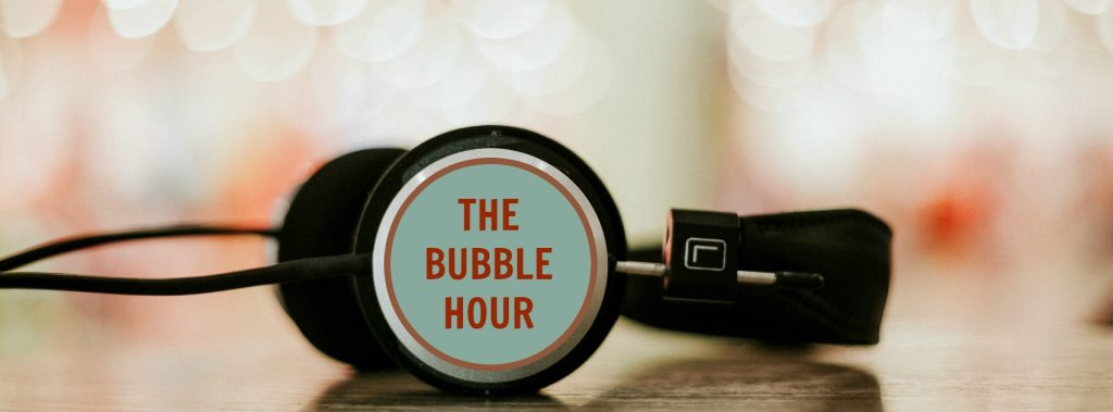 The Bubble Hour Podcast logo and headphones